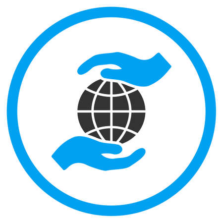surety: Global Insurance vector icon. Style is bicolor flat circled symbol, blue and gray colors, rounded angles, white background.