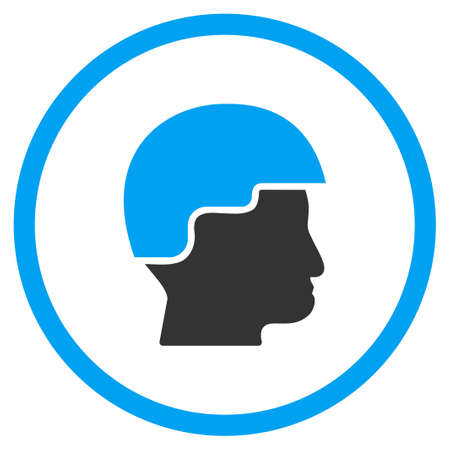 selected: Soldier Helmet vector icon. Style is bicolor flat circled symbol, blue and gray colors, rounded angles, white background.