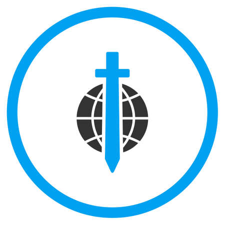 tyranny: International Sword vector icon. Style is bicolor flat circled symbol, blue and gray colors, rounded angles, white background. Illustration