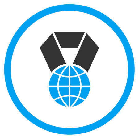 selected: World Prize vector icon. Style is bicolor flat circled symbol, blue and gray colors, rounded angles, white background.