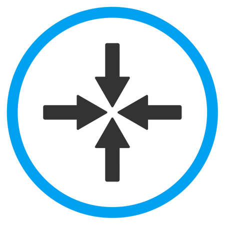 shrink: Collide Arrows vector icon. Style is bicolor flat circled symbol, blue and gray colors, rounded angles, white background.