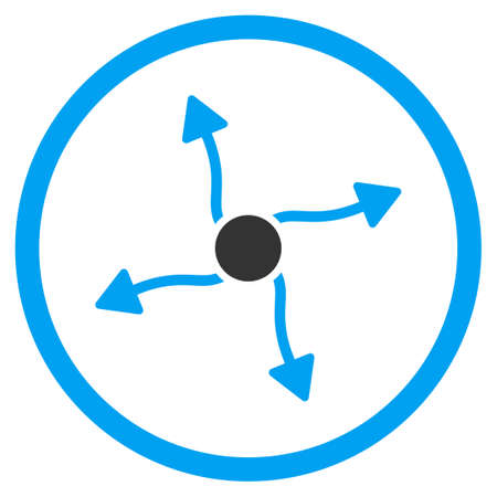 quark: Curve Arrows vector icon. Style is bicolor flat circled symbol, blue and gray colors, rounded angles, white background.