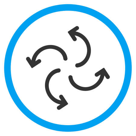 cyclone: Cyclone Arrows vector icon. Style is bicolor flat circled symbol, blue and gray colors, rounded angles, white background.