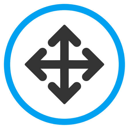 outward: Direction Variants vector icon. Style is bicolor flat circled symbol, blue and gray colors, rounded angles, white background.