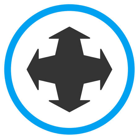 maximize: Directions vector icon. Style is bicolor flat circled symbol, blue and gray colors, rounded angles, white background. Illustration