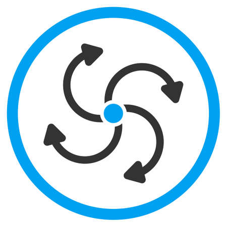 quark: Fan Rotation vector icon. Style is bicolor flat circled symbol, blue and gray colors, rounded angles, white background. Illustration