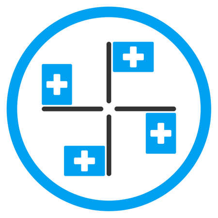 polyclinic: Hospital Flags vector icon. Style is bicolor flat circled symbol, blue and gray colors, rounded angles, white background.