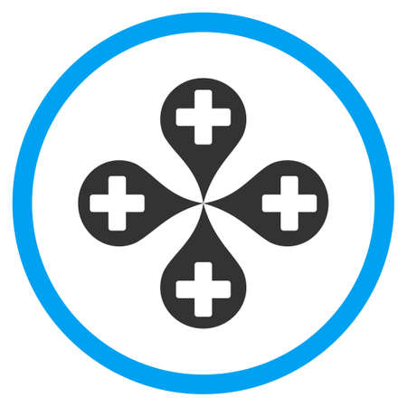 selected: Hospital Map Markers vector icon. Style is bicolor flat circled symbol, blue and gray colors, rounded angles, white background. Illustration