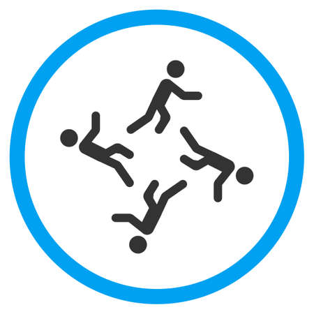 selected: Moving Men vector icon. Style is bicolor flat circled symbol, blue and gray colors, rounded angles, white background. Illustration