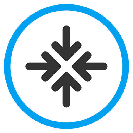 collide: Quadro Collide Arrows vector icon. Style is bicolor flat circled symbol, blue and gray colors, rounded angles, white background. Illustration
