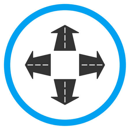 circled: Road Directions vector icon. Style is bicolor flat circled symbol, blue and gray colors, rounded angles, white background. Illustration