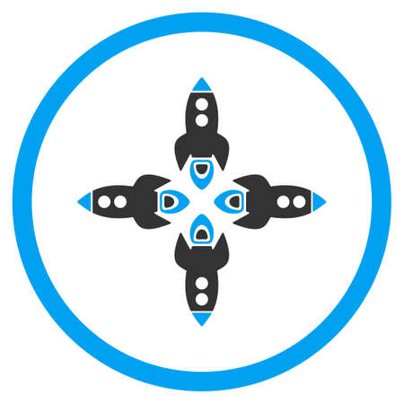rocketship: Rockets vector icon. Style is bicolor flat circled symbol, blue and gray colors, rounded angles, white background.