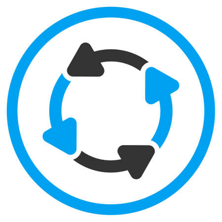 selected: Rotate Cw vector icon. Style is bicolor flat circled symbol, blue and gray colors, rounded angles, white background.