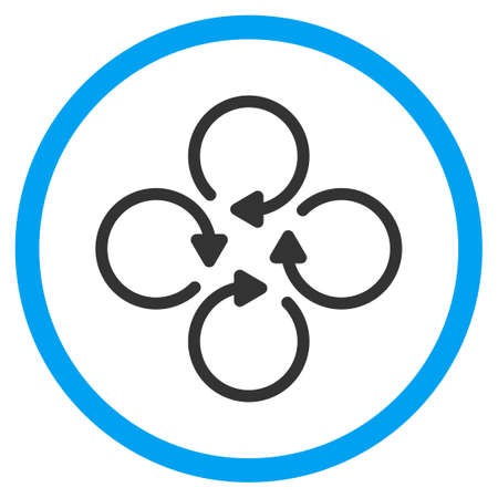 circled: Rotation vector icon. Style is bicolor flat circled symbol, blue and gray colors, rounded angles, white background.