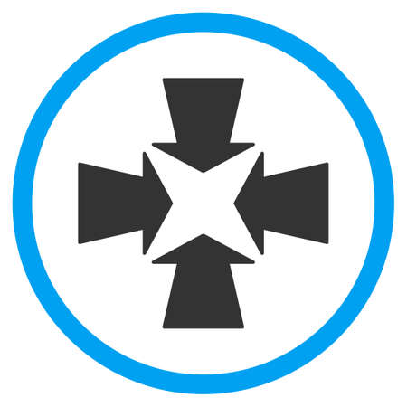 shrink: Shrink Arrows vector icon. Style is bicolor flat circled symbol, blue and gray colors, rounded angles, white background.