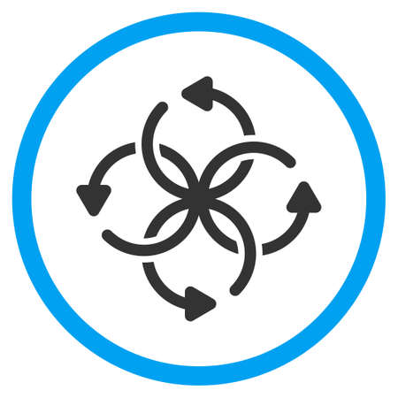 cross ties: Knot Rotation glyph icon. Style is bicolor flat circled symbol, blue and gray colors, rounded angles, white background.