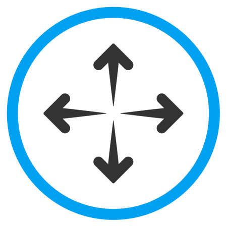 circled: Expand Arrows glyph icon. Style is bicolor flat circled symbol, blue and gray colors, rounded angles, white background.
