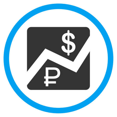 rub: Rouble and Dollar Finances vector icon. Style is bicolor flat circled symbol, blue and gray colors, rounded angles, white background.