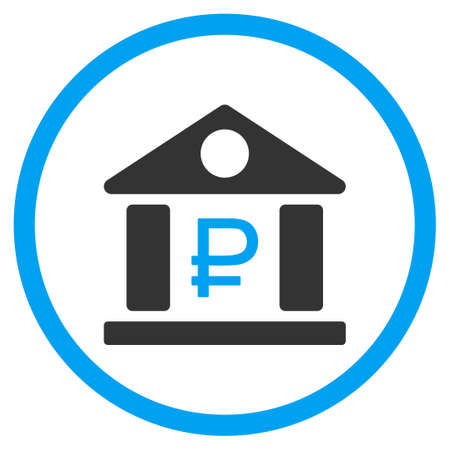 rub: Rouble Bank Building vector icon. Style is bicolor flat circled symbol, blue and gray colors, rounded angles, white background.