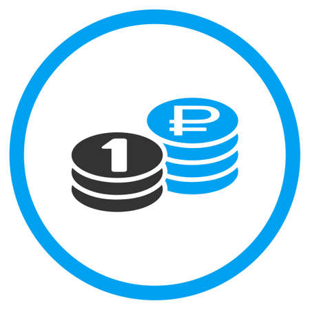 rub: Rouble Coin Stacks vector icon. Style is bicolor flat circled symbol, blue and gray colors, rounded angles, white background.