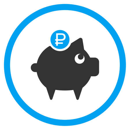 rouble: Rouble Piggy Bank vector icon. Style is bicolor flat circled symbol, blue and gray colors, rounded angles, white background.