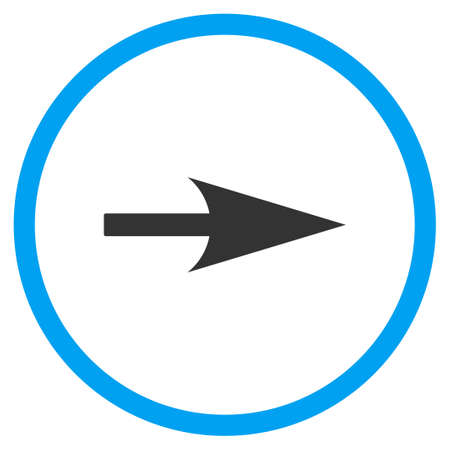 x axis: Arrow Axis X vector icon. Style is bicolor flat circled symbol, blue and gray colors, white background.