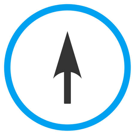 y axis: Arrow Axis Y vector icon. Style is bicolor flat circled symbol, blue and gray colors, white background. Illustration