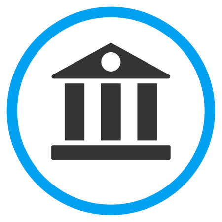 corporative: Bank Building vector icon. Style is bicolor flat circled symbol, blue and gray colors, rounded angles, white background.