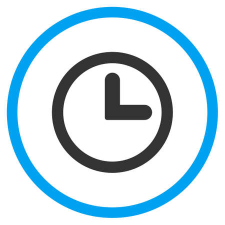 clockface: Clock vector icon. Style is bicolor flat circled symbol, blue and gray colors, rounded angles, white background. Illustration