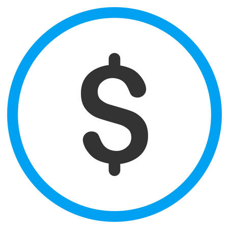 vector button: Dollar vector icon. Style is bicolor flat circled symbol, blue and gray colors, rounded angles, white background. Illustration