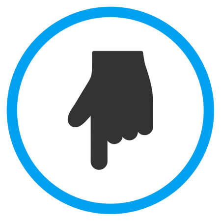 selector: Down Index Finger vector icon. Style is bicolor flat circled symbol, blue and gray colors, rounded angles, white background.