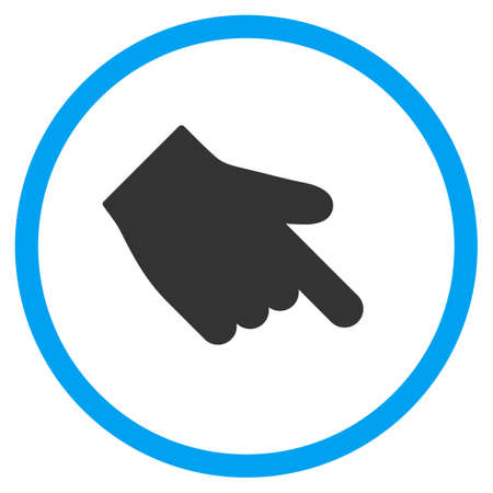 finger index: Down Right Index Finger vector icon. Style is bicolor flat circled symbol, blue and gray colors, rounded angles, white background.