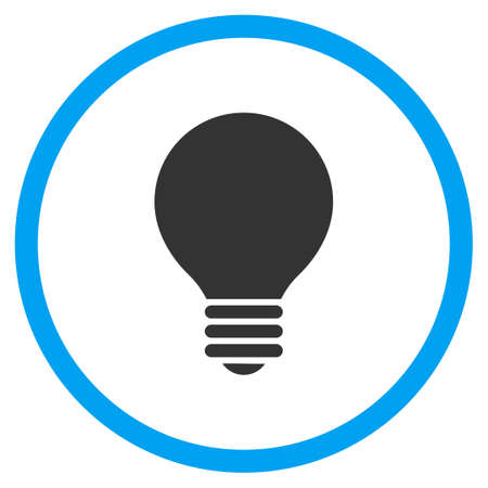 gray bulb: Electrical Bulb vector icon. Style is bicolor flat circled symbol, blue and gray colors, rounded angles, white background.