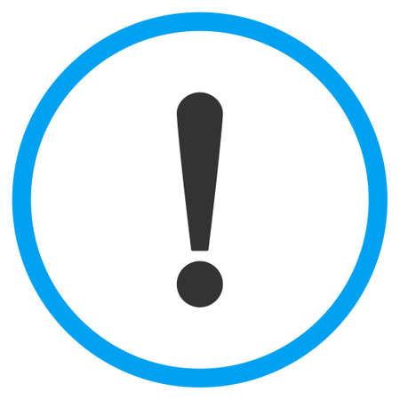 circled: Exclamation Sign vector icon. Style is bicolor flat circled symbol, blue and gray colors, rounded angles, white background.