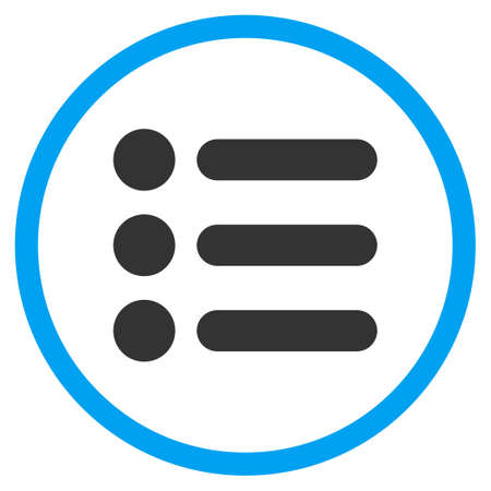 numerate: Items vector icon. Style is bicolor flat circled symbol, blue and gray colors, rounded angles, white background.