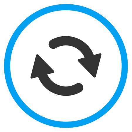 De reciclaje icono del vector. El estilo es símbolo de un círculo bicolor plana, colores azul y gris, ángulos redondeados, fondo blanco. Ilustración de vector