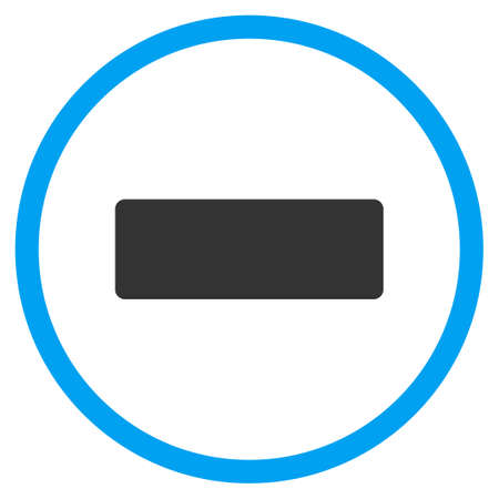 circled: Minus vector icon. Style is bicolor flat circled symbol, blue and gray colors, rounded angles, white background. Illustration
