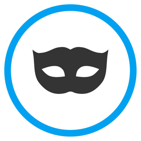 moods: Privacy Mask vector icon. Style is bicolor flat circled symbol, blue and gray colors, rounded angles, white background. Illustration