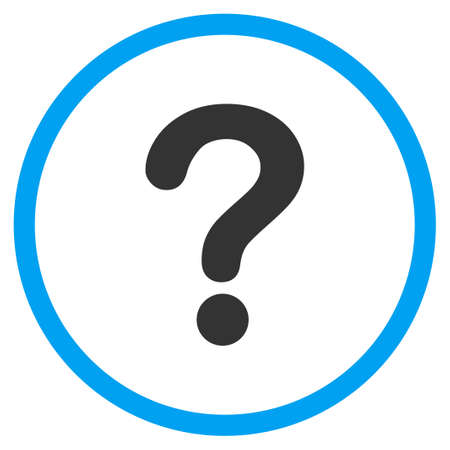 Question vector icon. Style is bicolor flat circled symbol, blue and gray colors, rounded angles, white background.