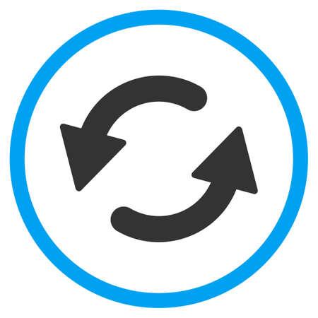 Actualisez Ccw vecteur icône. Le style est bicolor plat symbole cerclé, les couleurs bleu et gris, angles, de fond blanc arrondi.