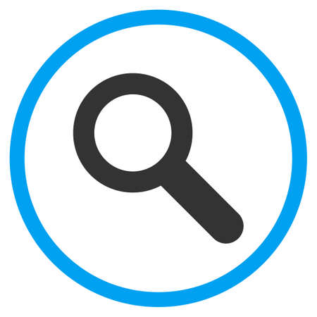 zoom in: Explore vector icon. Style is bicolor flat circled symbol, blue and gray colors, rounded angles, white background.