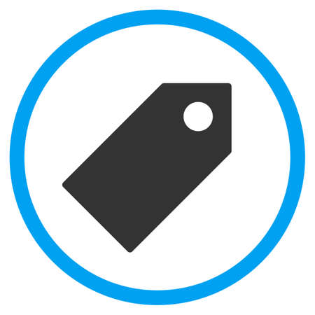 operand: Tag vector icon. Style is bicolor flat circled symbol, blue and gray colors, rounded angles, white background.