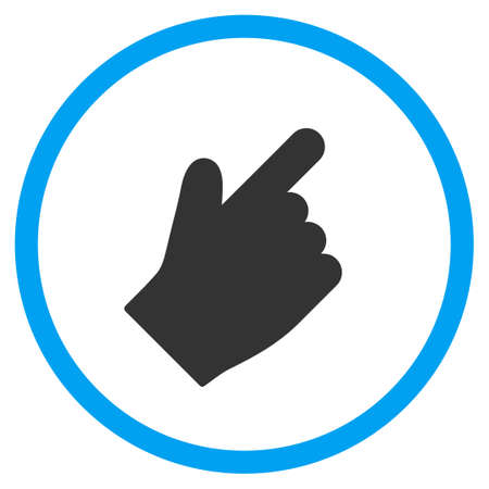 selector: Up Right Index Finger vector icon. Style is bicolor flat circled symbol, blue and gray colors, rounded angles, white background.