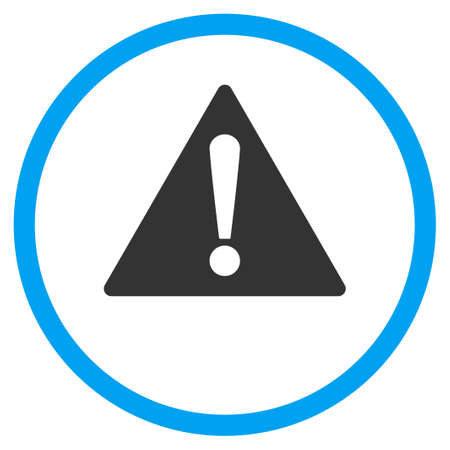 Warning vector icon. Style is bicolor flat circled symbol, blue and gray colors, rounded angles, white background. Vettoriali