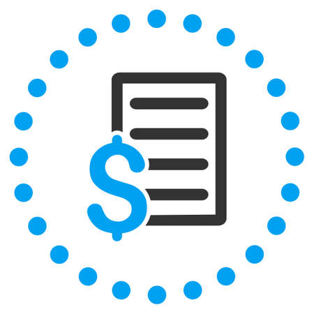 Contract vector icon. Style is bicolor flat circled symbol, blue and gray colors, rounded angles, white background.