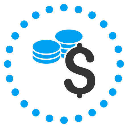 price gain: Dollar Coins vector icon. Style is bicolor flat circled symbol, blue and gray colors, rounded angles, white background.