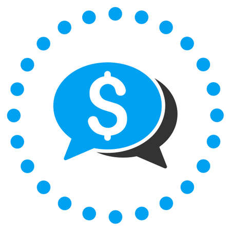 sms payment: Financial Chat vector icon. Style is bicolor flat circled symbol, blue and gray colors, rounded angles, white background. Illustration