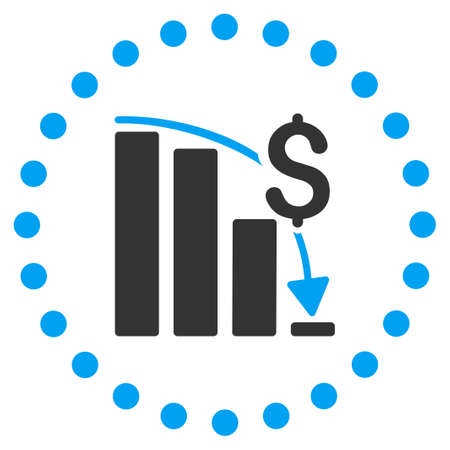 financial crisis: Financial Crisis vector icon. Style is bicolor flat circled symbol, blue and gray colors, rounded angles, white background. Illustration