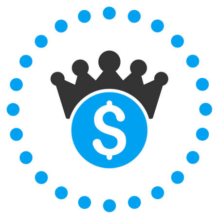 govern: Financial Power vector icon. Style is bicolor flat circled symbol, blue and gray colors, rounded angles, white background.