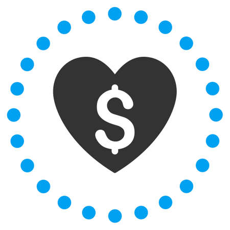 Paid Love vector icon. Style is bicolor flat circled symbol, blue and gray colors, rounded angles, white background. Illustration